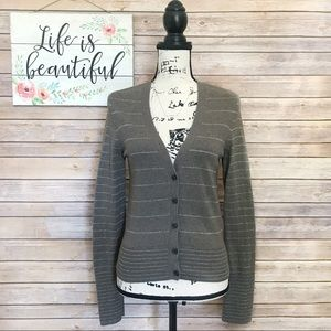 American Eagle Brown Striped Button Cardigan Med